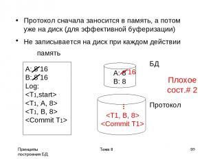 Принципы построения БД Тема 8 * Протокол сначала заносится в память, а потом уже