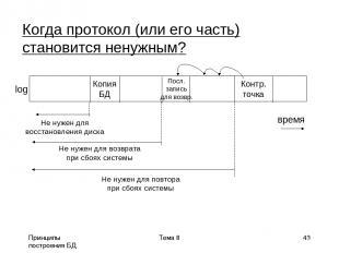 Принципы построения БД Тема 8 * Когда протокол (или его часть) становится ненужн