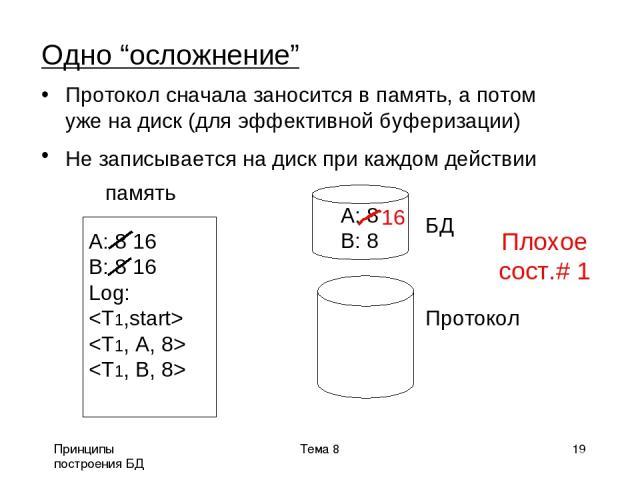 """Принципы построения БД Тема 8 * Одно """"осложнение"""" Протокол сначала заносится в память, а потом уже на диск (для эффективной буферизации) Не записывается на диск при каждом действии память БД Протокол A: 8 16 B: 8 16 Log: A: 8 B: 8 Тема 8"""
