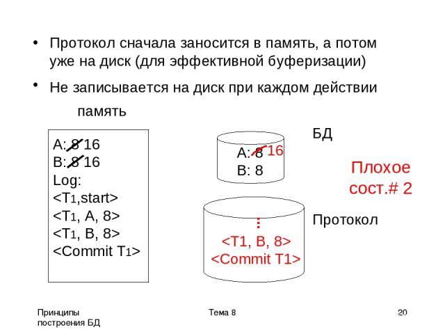 Принципы построения БД Тема 8 * Протокол сначала заносится в память, а потом уже на диск (для эффективной буферизации) Не записывается на диск при каждом действии память БД Протокол A: 8 16 B: 8 16 Log: A: 8 B: 8 ... Тема 8