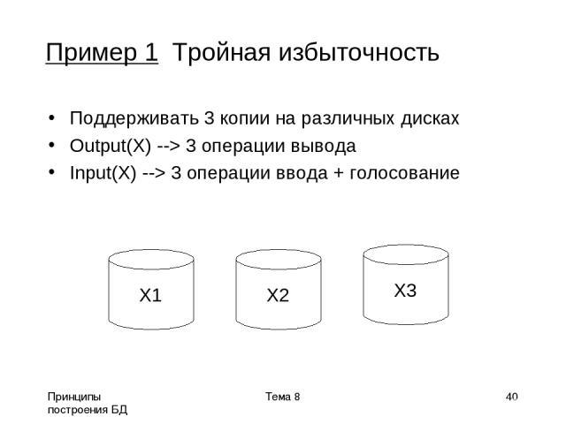 Принципы построения БД Тема 8 * Пример 1 Тройная избыточность Поддерживать 3 копии на различных дисках Output(X) --> 3 операции вывода Input(X) --> 3 операции ввода + голосование X1 X2 X3 Тема 8