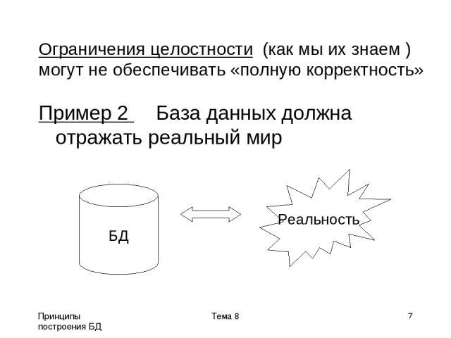 Принципы построения БД Тема 8 * Пример 2 База данных должна отражать реальный мир БД Реальность Ограничения целостности (как мы их знаем ) могут не обеспечивать «полную корректность» Тема 8