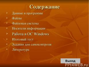 Содержание Данные и программы Файлы Файловая система Носители информации Работа