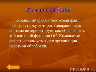 Командный файл Командный файл - текстовый файл, каждую строку которого операцион