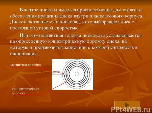 В центре дискеты имеется приспособление для захвата и обеспечения вращения диска