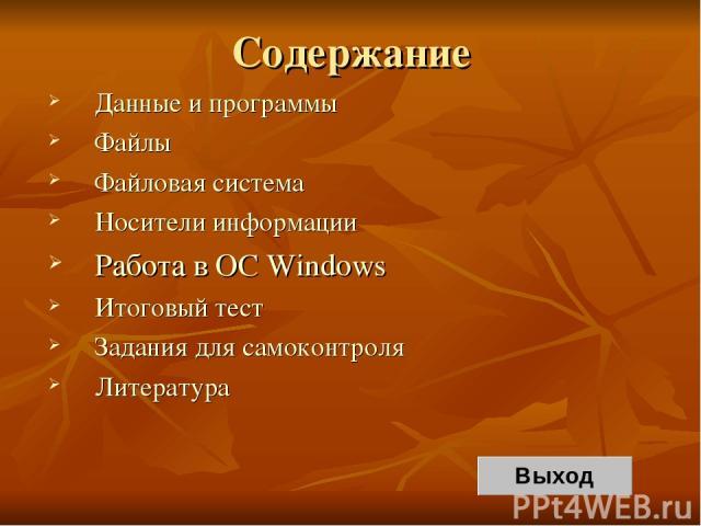 Содержание Данные и программы Файлы Файловая система Носители информации Работа в OC Windows Итоговый тест Задания для самоконтроля Литература