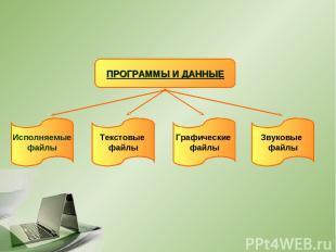 ПРОГРАММЫ И ДАННЫЕ Исполняемые файлы Текстовые файлы Графические файлы Звуковые