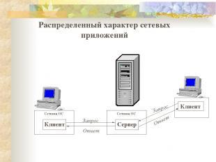 Распределенный характер сетевых приложений Сетевая ОС Клиент Сетевая ОС Сервер О