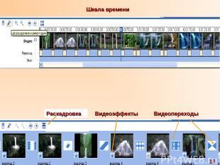 Видеоэффекты Видеопереходы Раскадровка 10 Шкала времени