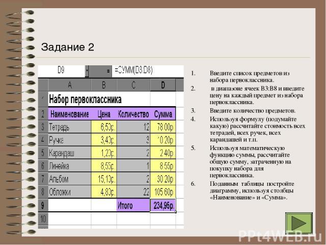 Введите список предметов из набора первоклассника. в диапазоне ячеек В3:В8 и введите цену на каждый предмет из набора первоклассника. Введите количество предметов. Используя формулу (подумайте какую) рассчитайте стоимость всех тетрадей, всех ручек, …