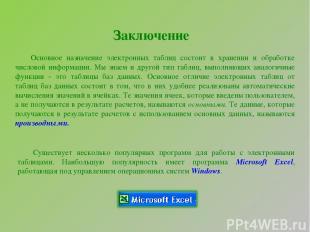 Заключение Основное назначение электронных таблиц состоит в хранении и обработке