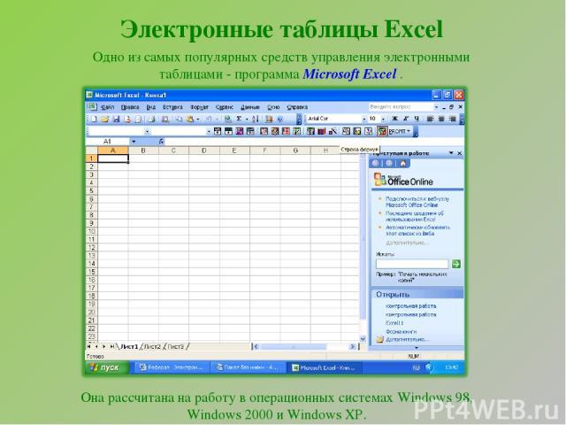 Электронные таблицы Excel Одно из самых популярных средств управления электронными таблицами - программа Microsoft Excel . Она рассчитана на работу в операционных системах Windows 98, Windows 2000 и Windows XP.