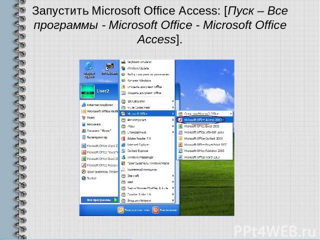 Запустить Microsoft Office Access: [Пуск – Все программы - Microsoft Office - Microsoft Office Access].