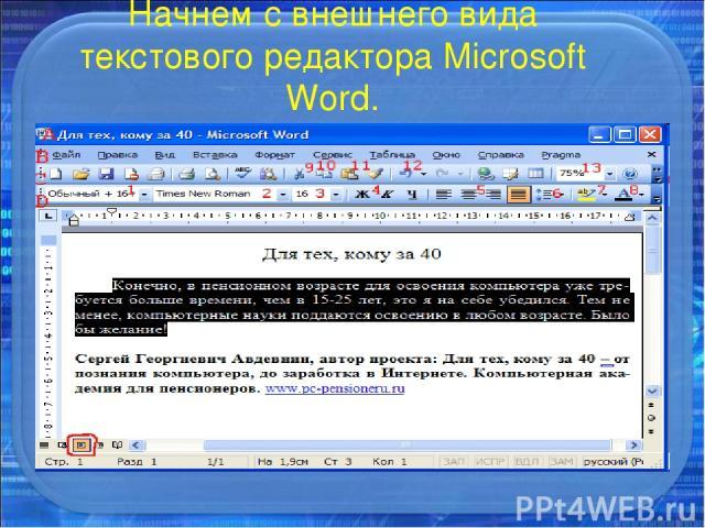 Начнем с внешнего вида текстового редактора Microsoft Word.