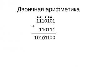 Двоичная арифметика 1110101 110111 + 1 0 0 1 0 1 0 1