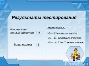 Результаты тестирования Ваша оценка - Нормы оценок: «5» - 13 верных ответов «4»