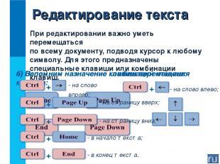 При редактировании важно уметь перемещаться по всему документу, подводя курсор к