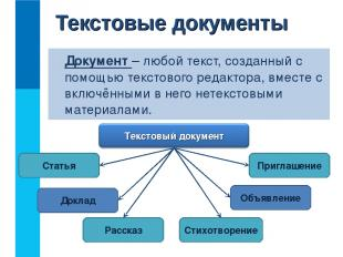Документ – любой текст, созданный с помощью текстового редактора, вместе с включ