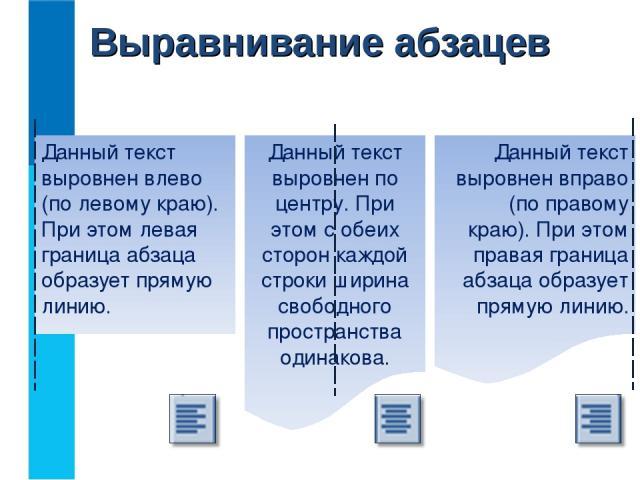 Выравнивание абзацев Данный текст выровнен влево (по левому краю). При этом левая граница абзаца образует прямую линию. Данный текст выровнен по центру. При этом с обеих сторон каждой строки ширина свободного пространства одинакова. Данный текст выр…
