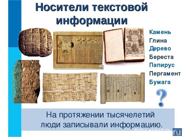 На протяжении тысячелетий люди записывали информацию. Носители текстовой информации Камень Глина Дерево Папирус Пергамент Бумага Береста