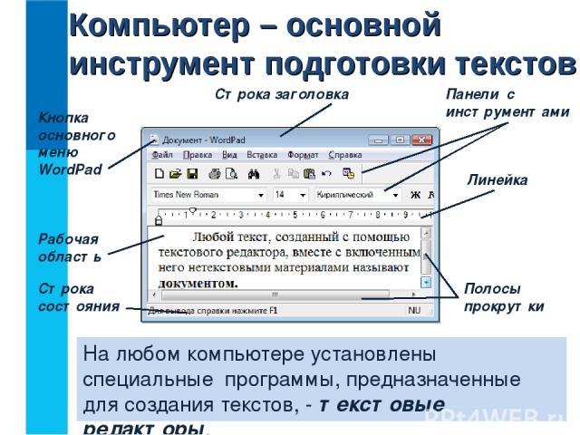 На любом компьютере установлены специальные программы, предназначенные для создания текстов, - текстовые редакторы. Компьютер – основной инструмент подготовки текстов Кнопка основного меню WordPad Строка заголовка Панели с инструментами Линейка Поло…