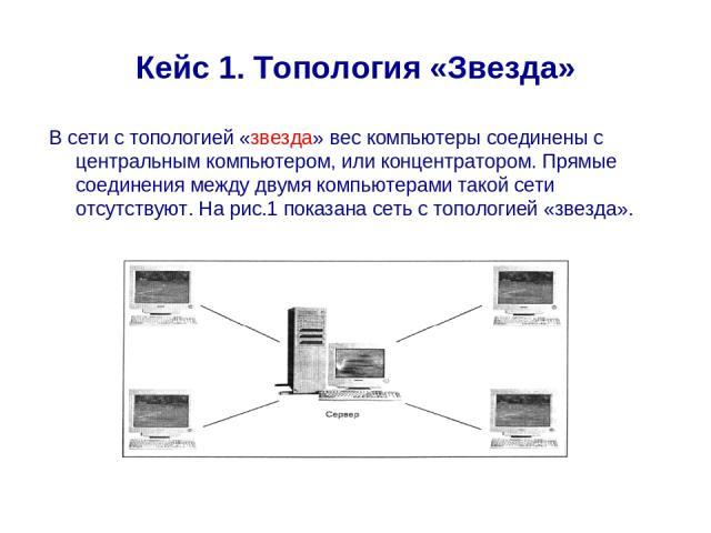 Кейс 1. Топология «Звезда» В сети с топологией «звезда» вес компьютеры соединены с центральным компьютером, или концентратором. Прямые соединения между двумя компьютерами такой сети отсутствуют. На рис.1 показана сеть с топологией «звезда».