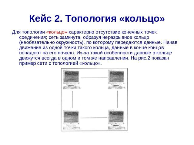 Кейс 2. Топология «кольцо» Для топологии «кольцо» характерно отсутствие конечных точек соединения; сеть замкнута, образуя неразрывное кольцо (необязательно окружность), по которому передаются данные. Начав движение из одной точки такого кольца, данн…