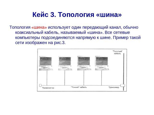 Кейс 3. Топология «шина» Топология «шина» использует один передающий канал, обычно коаксиальный кабель, называемый «шина». Все сетевые компьютеры подсоединяются напрямую к шине. Пример такой сети изображен на рис.3.