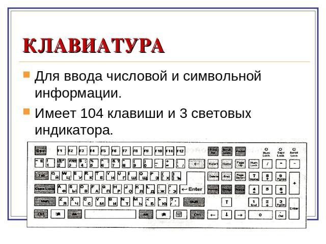 КЛАВИАТУРА Для ввода числовой и символьной информации. Имеет 104 клавиши и 3 световых индикатора.