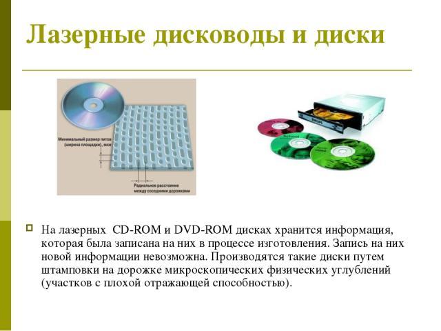 Лазерные дисководы и диски На лазерных CD-ROM и DVD-ROM дисках хранится информация, которая была записана на них в процессе изготовления. Запись на них новой информации невозможна. Производятся такие диски путем штамповки на дорожке микроскопических…