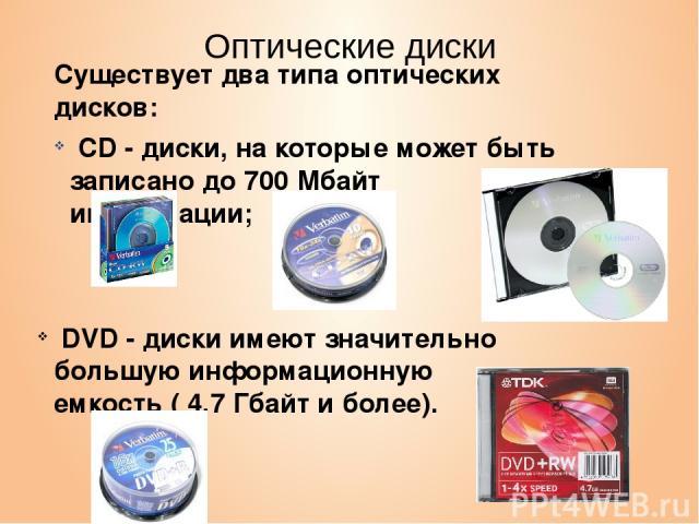 Оптические диски Существует два типа оптических дисков: CD - диски, на которые может быть записано до 700 Мбайт информации; DVD - диски имеют значительно большую информационную емкость ( 4,7 Гбайт и более).