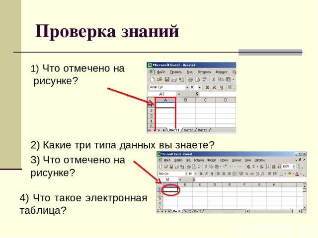 Проверка знаний Что отмечено на рисунке? 2) Какие три типа данных вы знаете? 3) Что отмечено на рисунке? 4) Что такое электронная таблица?