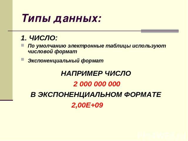 Типы данных: 1. ЧИСЛО: По умолчанию электронные таблицы используют числовой формат Экспоненциальный формат НАПРИМЕР ЧИСЛО 2 000 000 000 В ЭКСПОНЕНЦИАЛЬНОМ ФОРМАТЕ 2,00Е+09