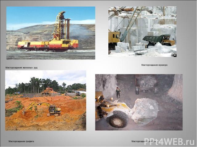 Месторождения железных руд Месторождения мрамора Месторождения графита Месторождения никеля