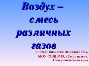 Воздух – смесь различных газов Учитель биологии Шмыкова И.А. МОУ СОШ №29, г.Геор