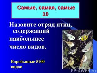 Самые, самая, самые 10 Назовите отряд птиц, содержащий наибольшее число видов. В