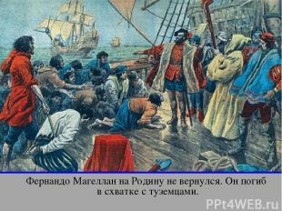 Фернандо Магеллан на Родину не вернулся. Он погиб в схватке с туземцами. апр