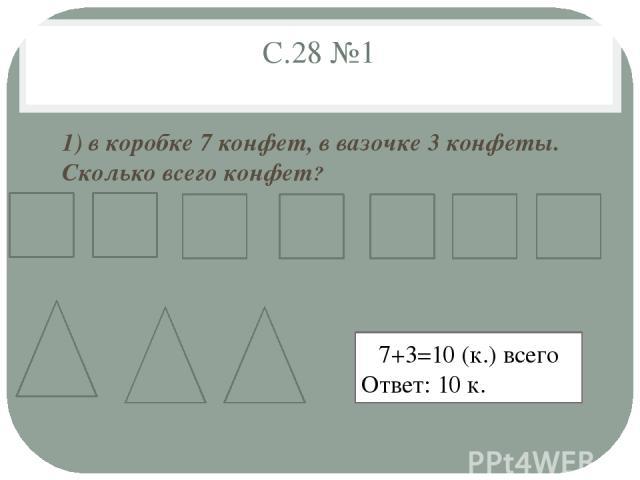 С.28 №1 1) в коробке 7 конфет, в вазочке 3 конфеты. Сколько всего конфет? 7+3=10 (к.) всего Ответ: 10 к.