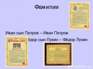 Фамилии Иван сын Петров – Иван Петров Фёдор сын Лукин – Фёдор Лукин