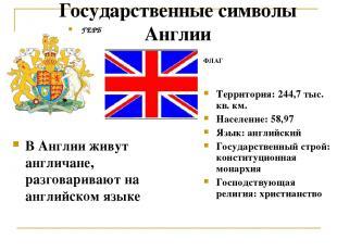 Государственные символы Англии ФЛАГ ГЕРБ В Англии живут англичане, разговаривают