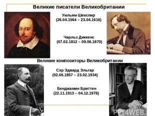 Великие писатели Великобритании Уильям Шекспир (26.04.1564 – 23.04.1616) Чарльз