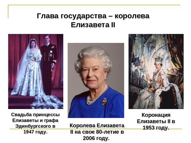 Коронация Елизаветы II в 1953 году. Глава государства – королева Елизавета II Королева Елизавета II на свое 80-летие в 2006 году. Свадьба принцессы Елизаветы и графа Эдинбургского в 1947 году.