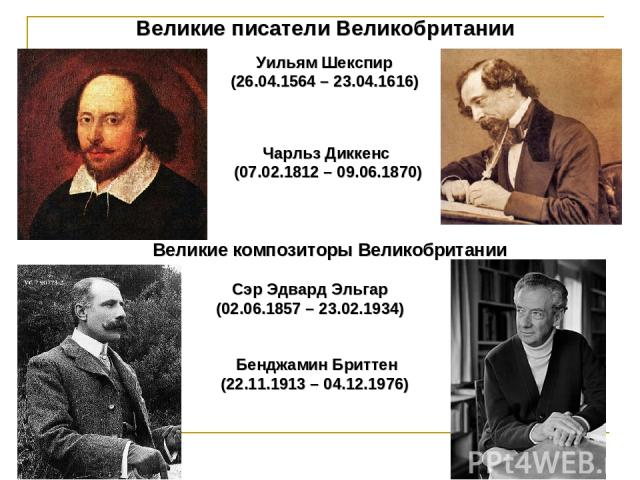 Великие писатели Великобритании Уильям Шекспир (26.04.1564 – 23.04.1616) Чарльз Диккенс (07.02.1812 – 09.06.1870) Великие композиторы Великобритании Сэр Эдвард Эльгар (02.06.1857 – 23.02.1934) Бенджамин Бриттен (22.11.1913 – 04.12.1976)