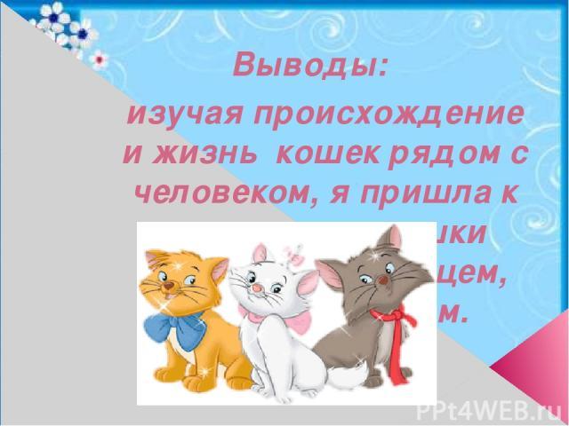 Выводы: изучая происхождение и жизнь кошек рядом с человеком, я пришла к выводу, что кошки могут быть питомцем, лекарем, другом.