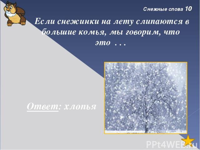 Снежные слова 40 Свежий, только - только запорошивший землю, самый чистый снег называется . . . Ответ: пороша