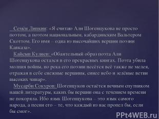Семён Липкин: «Я считаю Али Шогенцукова не просто поэтом, а поэтом национальным,