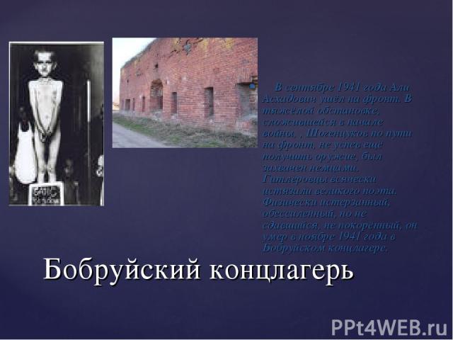 Бобруйский концлагерь В сентябре 1941 года Али Асхадович ушёл на фронт. В тяжёлой обстановке, сложившейся в начале войны, , Шогенцуков по пути на фронт, не успев ещё получить оружие, был захвачен немцами. Гитлеровцы всячески истязали великого поэта.…