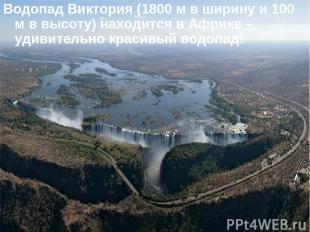 Водопад Виктория (1800 м в ширину и 100 м в высоту) находится в Африке – удивите