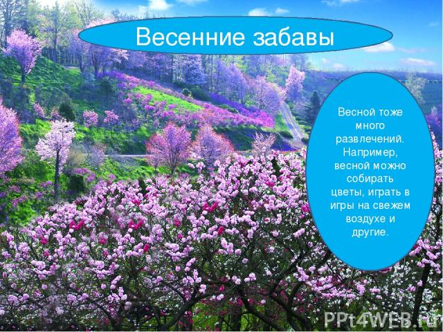 Весенние забавы Весной тоже много развлечений. Например, весной можно собирать цветы, играть в игры на свежем воздухе и другие.