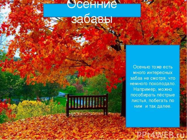 Осенние забавы Осенью тоже есть много интересных забав не смотря, что немного похолодало. Например, можно пособирать пёстрые листья, побегать по ним и так далее.